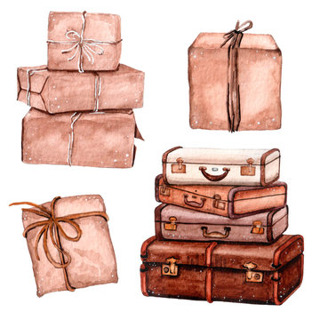 Watercolor set of stack of suitcases and craft present boxes