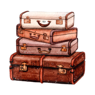 Watercolor travel suitcases in brown colors for adventures