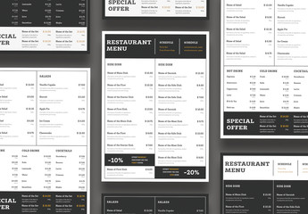 Black and White Menu Layouts