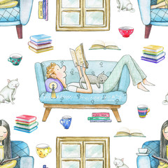Seamless pattern with cartoon people reading books, cats, mugs and window frame isolated on white background. Watercolor hand drawn illustration