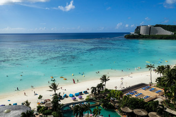 high angle view of tumon bay beach, guam