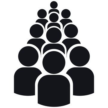 Group of ten people silhouettes