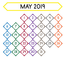 Detailed daily calendar of the month of May 2019