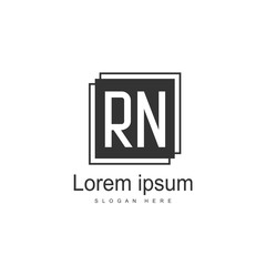 Initial RN Logo Template. Minimalist letter logo design