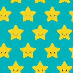 Vector illustration. Seamless pattern with falling cute yellow stars white background. Weather symbol