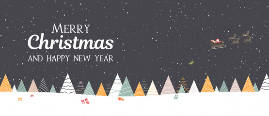 Merry Christmas and Happy New Year banner with Santa Claus delivers gifts.