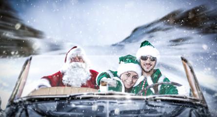 Santa Claus car and winter road