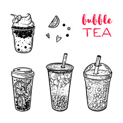 Bubble tea hand drawn illustration. Cocktail collection. Bubble tea vector illustration. Drink set. Design template.