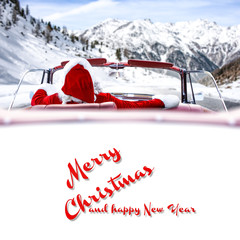 Santa claus car and winter road
