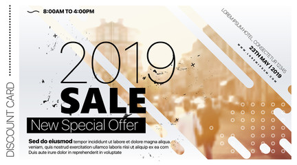 2019 Discount card, web banner, flyer template leaflet with image and grunge texture. Design Vector illustration EPS 10 file.
