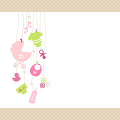 Baby Girl Symbols Hanging Dots Border Beige