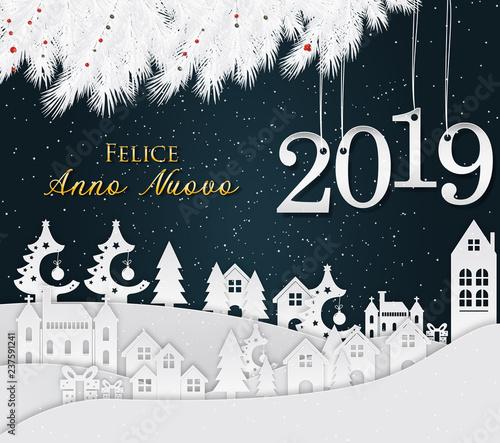 Christmas In Italy 2019.Italian Happy New Year Greeting Card New Year 2019 Stock