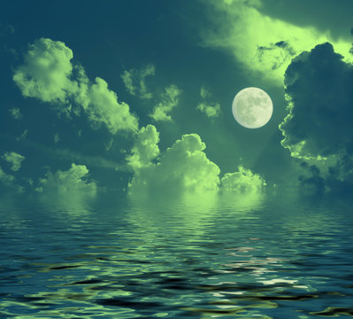 night lunar landscape full moon reflected in water night clouds
