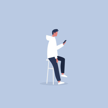 Young male character sitting on the bar stool and holding a smartphone. Millennial lifestyle. Social media. Flat editable vector illustration, clip art