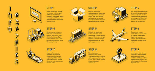 International delivery service, transport and logistics company, shipping business isometric vector step by step infographics with various cargo transport, warehouse equipment line art illustrations