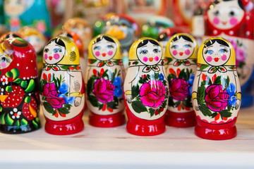 Russian nesting dolls. National souvenir toy wooden