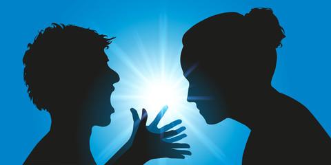 Concept de l'échec de l'éducation parentale avec un adolescent agressif qui hurle après sa mère