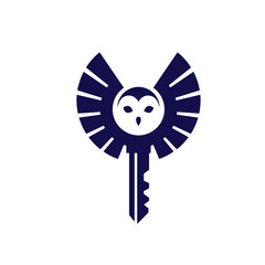 creative owl with key logo concept vector element design.