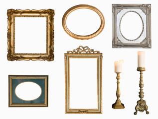 Set of golden vintage frame adn candlesticks isolated on white background. Retro style.