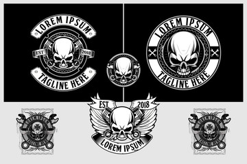 skull biker with piston and wing vector label, t-shirt designs or logo template collection