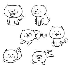 vector set of cats