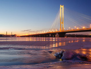 "The Pivdennyi (""Southern"") Bridge in Kiev, Ukraine"
