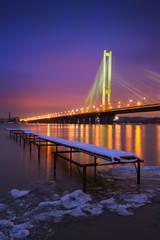 South bridge in evening. Kyiv, Ukraine