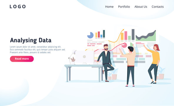 People interacting with charts and analysing statistics. Vector data visualisation concept. Vector illustration