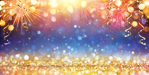 Happy New Year With Glitter And Fireworks