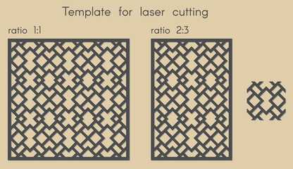 Template for laser cutting. Stencil for panels of wood, metal. Abstract arabic geometric background for cut. Vector illustration. Decorative cards. Ratio 1:1, 2:3.