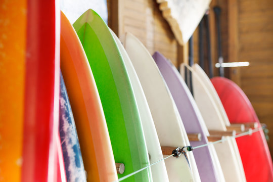 Variety of surfboards awaiting tourists