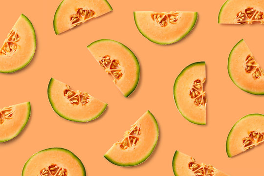 Colorful fruit pattern of melon slices