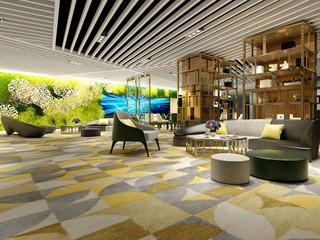 3d render of luxury hotel interior lobby