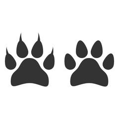 Paw print icon. Vector illustration, flat design.