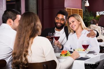 middle class people enjoying food