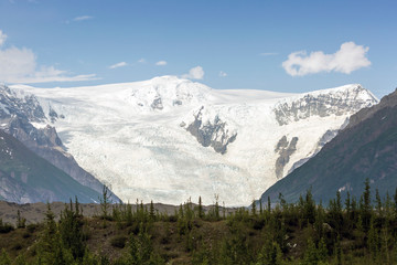 Landscape view of a glacier at Wrangell-St. Elias National Park in Alaska.