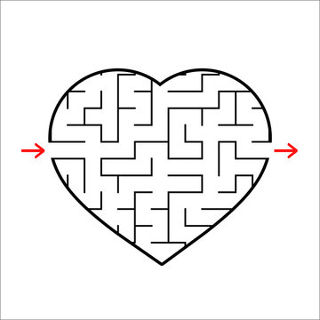 Abstract heart shaped labyrinth. Game for kids. Puzzle for children. One entrances, one exit. Maze conundrum. Simple flat vector illustration isolated on white background.