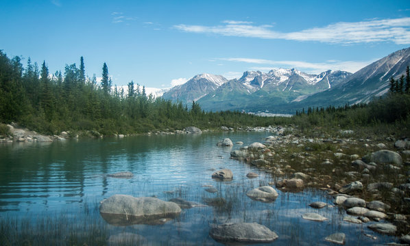 Landscape view of Wrangell-St. Elias National Park in Alaska.