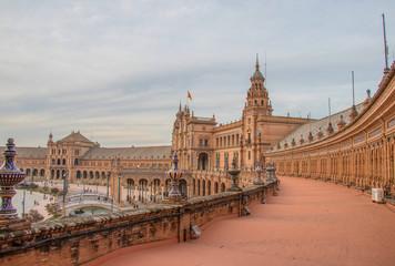 Sevilla, Spain - October, 2018: Spanish Square Plaza de Espana in Sevilla in a beautiful autumn day