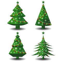 Vector tree christmas green, traditional symbol to new year illustration.Green christmas tree set isolated on white.