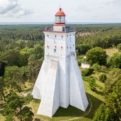 Historical old Kõpu lighthouse (Kopu lighthouse), Hiiumaa island, Estonia aerial drone photo. Birds eye view