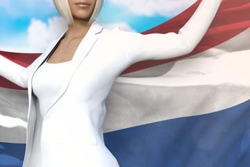cute business lady holds Netherlands flag in hands behind her back on the blue sky background - flag concept 3d illustration