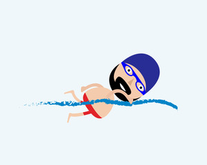 Swimming man - modern colorful vector cartoon character illustration. Vector illustrathion.
