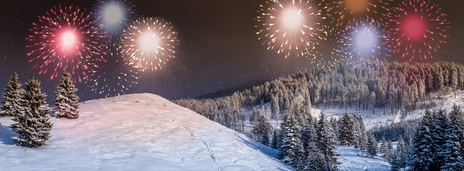 New Year card, New Year's eve background with colorful, party fireworks display on the sky, outdoors, in a winter landscape with snow and fir trees