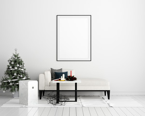 Mock Up Poster Frame Christmas New Year Interior Background