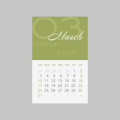 Calendar 2019 months March. Week starts Sunday
