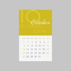 Calendar 2019 months October. Week starts Sunday