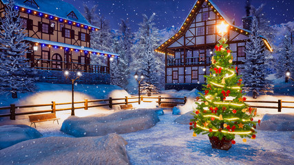 Wall Mural - Outdoor Christmas tree decorated by Xmas lights garland on empty snowbound square of cozy alpine mountain township at snowy winter night. With no people 3D illustration.