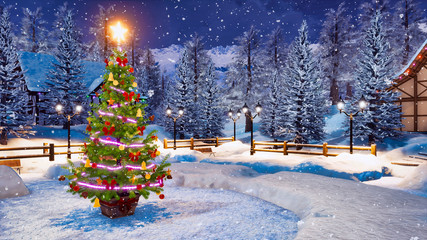 Wall Mural - Outdoor Christmas tree decorated by lights garland against snow covered alpine mountain village on background at snowfall winter night. Festive 3D illustration.