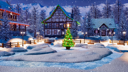 Snowbound alpine village among snowy mountains with illuminated half-timbered houses and decorated Christmas tree at winter night during snowfall. Festive 3D illustration.